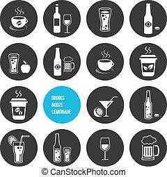飲み物, ベクトル, セット, アイコン