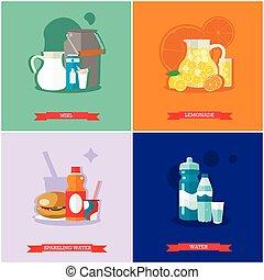 飲み物, 平ら, セット, ベクトル, デザイン, 柔らかい