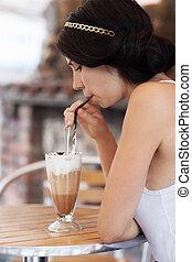 飲むこと, カプチーノ, ブルネット, カフェ, 女の子
