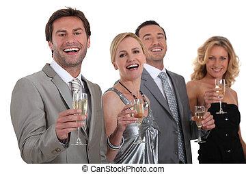 飲むこと, シャンペン, グループ, 人々