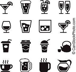飲むこと, ベクトル, セット, イラスト, アイコン