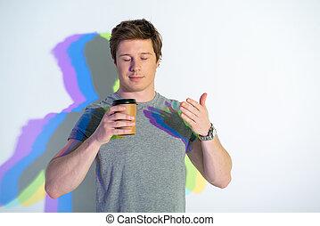 飲むこと, 人, うれしい, 液体, カップ