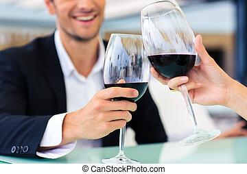 飲むこと, 人, ワイン, 赤, レストラン