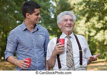 飲むこと, 公園, コーヒー