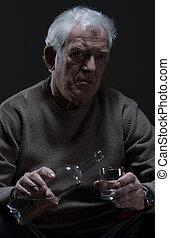 飲むこと, 古い, アルコール, 人