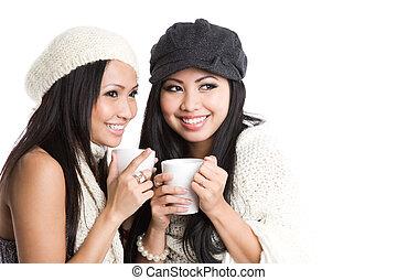 飲むこと, 女性, コーヒー, アジア人