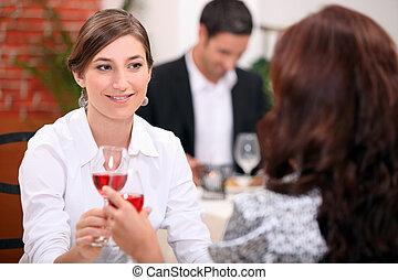 飲むこと, 女性, ワイン, レストラン