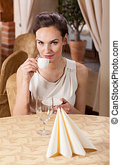 飲むこと, 女, エスプレッソ, レストラン