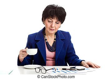 飲むこと, 女, コーヒー, オフィス