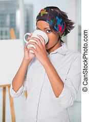 飲むこと, 女, コーヒー, 芸術的