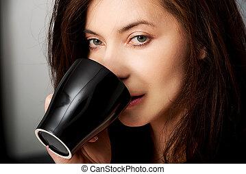 飲むこと, 女, コーヒー, bed.