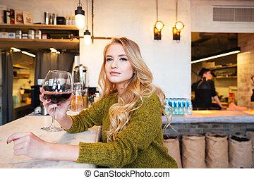 飲むこと, 女, ワイン, レストラン