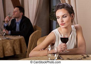 飲むこと, 女, 魅力的, ワイン