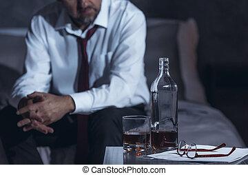 飲むこと, 疲れた, アルコール, 人