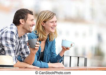 飲むこと, 観光, コーヒー, 幸せ, 観光客, バルコニー