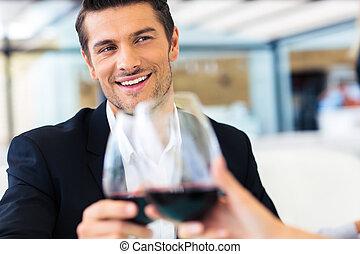 飲む ワイン, 人, レストラン