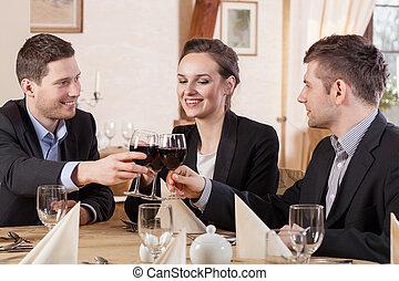 飲む ワイン, 友人, レストラン