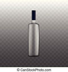 飲料, びん, ベクトル, テンプレート, アルコール中毒患者, イラスト, 現実的, isolated.