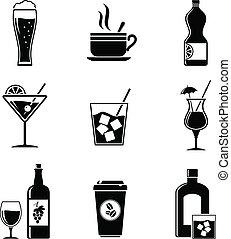 飲料, セット, アイコン