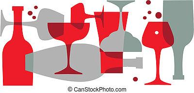飲料, 瓶子, 以及, 眼鏡