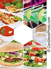 飲料, 組, 餐館, 食物, 菜單, 飲料, 彙整, 膳食, 拼貼藝術, 飯, 喝