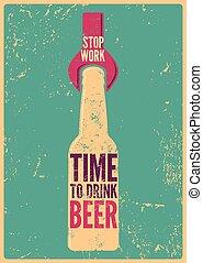 飲料, beer., 停止, 工作, -, 時間, typ