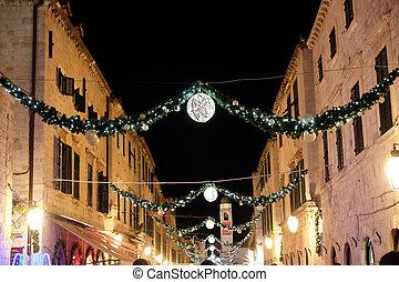 飾られる, クリスマス, croatia, 通り, stradun, ロマンチック, 雰囲気, 照ること, dubrovnik, ライト, 装飾