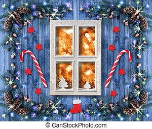 飾られる, トウヒ, クリスマス, モミ, 花輪, 窓, ライト, キャンデー, 新しい, 木, コーン, 年, スタイル, 杖, lollipops, 装飾, 型, 明り, 無作法, コテッジ