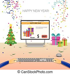 飾られる, 仕事場, コンピュータ, 手, 使うこと, タイプ, 新年おめでとう, インターネット, クリスマス,...