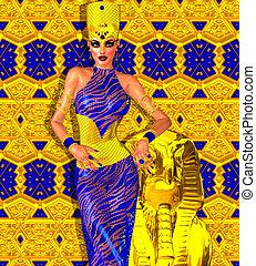 飾られる, 女王, 金, エジプト人