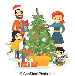 飾り付ける, 木。, クリスマス, 家族, コーカサス人