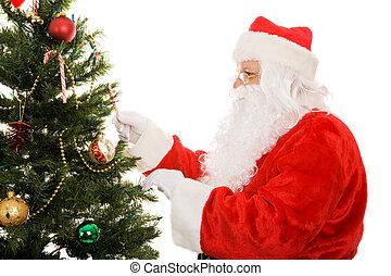 飾り付ける, 木, クリスマス, santa