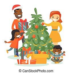 飾り付ける, 木。, multiethnic, 家族の クリスマス