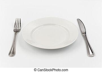 餐具, 為, 一, person., 刀, 白色的盤子, 以及, fork.