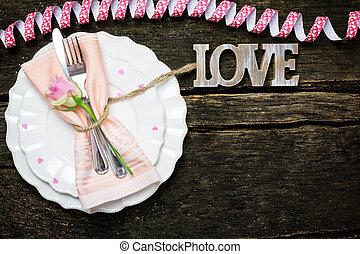 餐具, 為, 情人節, 上, 木制