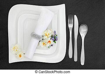 餐具, 由于, 花