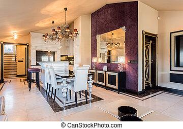 餐厅, 在中, 巴罗克艺术风格, 房子