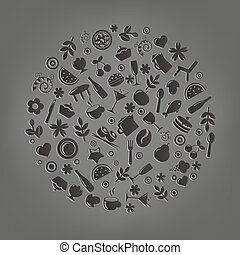 餐館, 矢量, 圖象, 在, 形式, ......的, 球