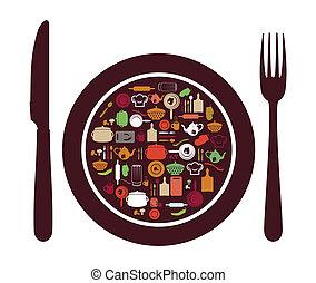 餐館, 簽署, -, 刀, 勺, 為