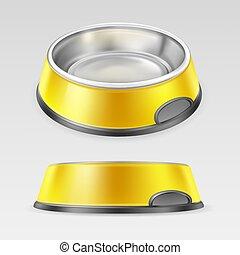 饭, 碗, 动物, 黄色