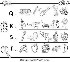 首先, 信件, 在中, a, 词汇, 着色书, 游戏