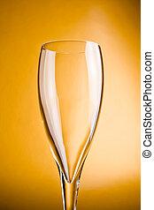 香檳色的玻璃品, 上, a, 金黃 背景