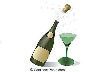 香檳酒, 以及, 玻璃