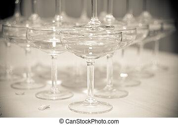 香檳酒, 塔, 特寫鏡頭