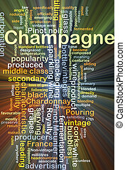 香檳酒, 背景, 概念, 發光