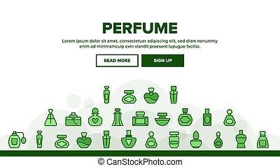 香水, セット, アイコン, コレクション, 容器, ベクトル