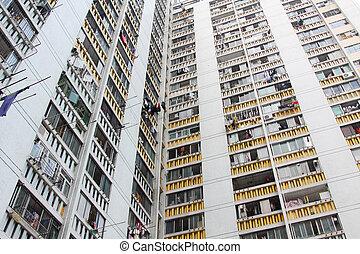 香港, ハウジング, パックされた, 公衆