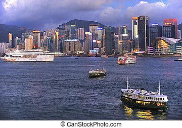 香港, -, 七月, 4:, 維多利亞港, 上, 七月, 04, 2012, 在, 洪, kong., 游覽班船