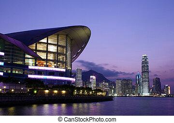 香港, 大會, 以及, 展覽, 中心, 夜間