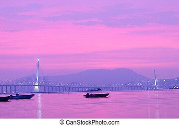 香港, 日没, 西部, 時間, ハイウェー, にせ物